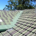 Tile Roof Valley guard installed with rivergum leafmesh